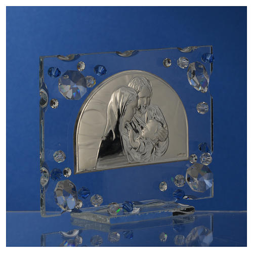 Holy Family picture, wedding favour with blue Swarovski 7