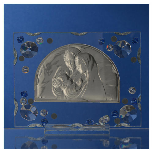 Holy Family picture, wedding favour with blue Swarovski 8