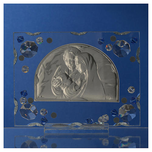 Holy Family picture, wedding favour with blue Swarovski 4