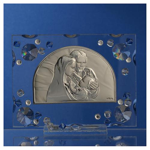 Recuerdo matrimonio cuadro S.Familia Swarovski azul 2