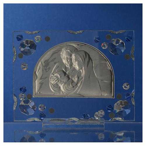 Recuerdo matrimonio cuadro S.Familia Swarovski azul 4