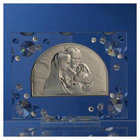 Bonbonnière mariage cadre Ste Famille Swarovski bleu s6