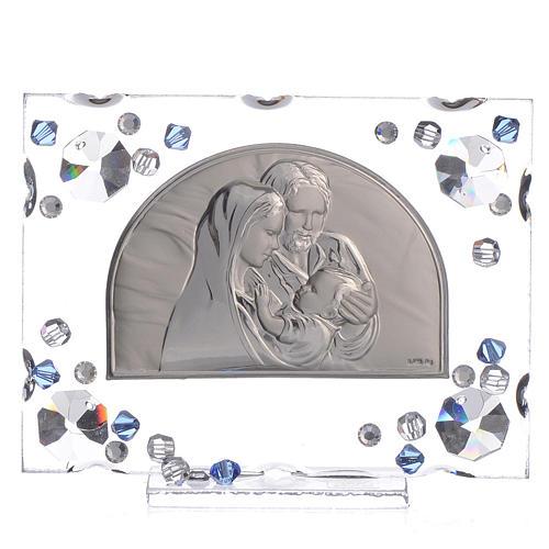 Bonbonnière mariage cadre Ste Famille Swarovski bleu 1