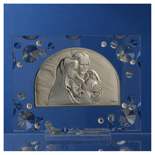 Bonbonnière mariage cadre Ste Famille Swarovski bleu 2