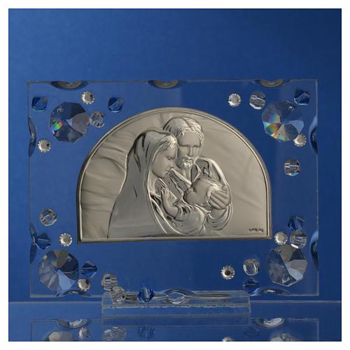 Bomboniera matrimonio quadro S. Famiglia Swarovski blu 6
