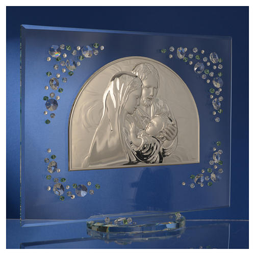 Holy Family picture with green Swarovski 7