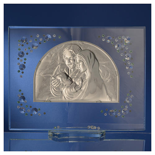 Holy Family picture with green Swarovski 4