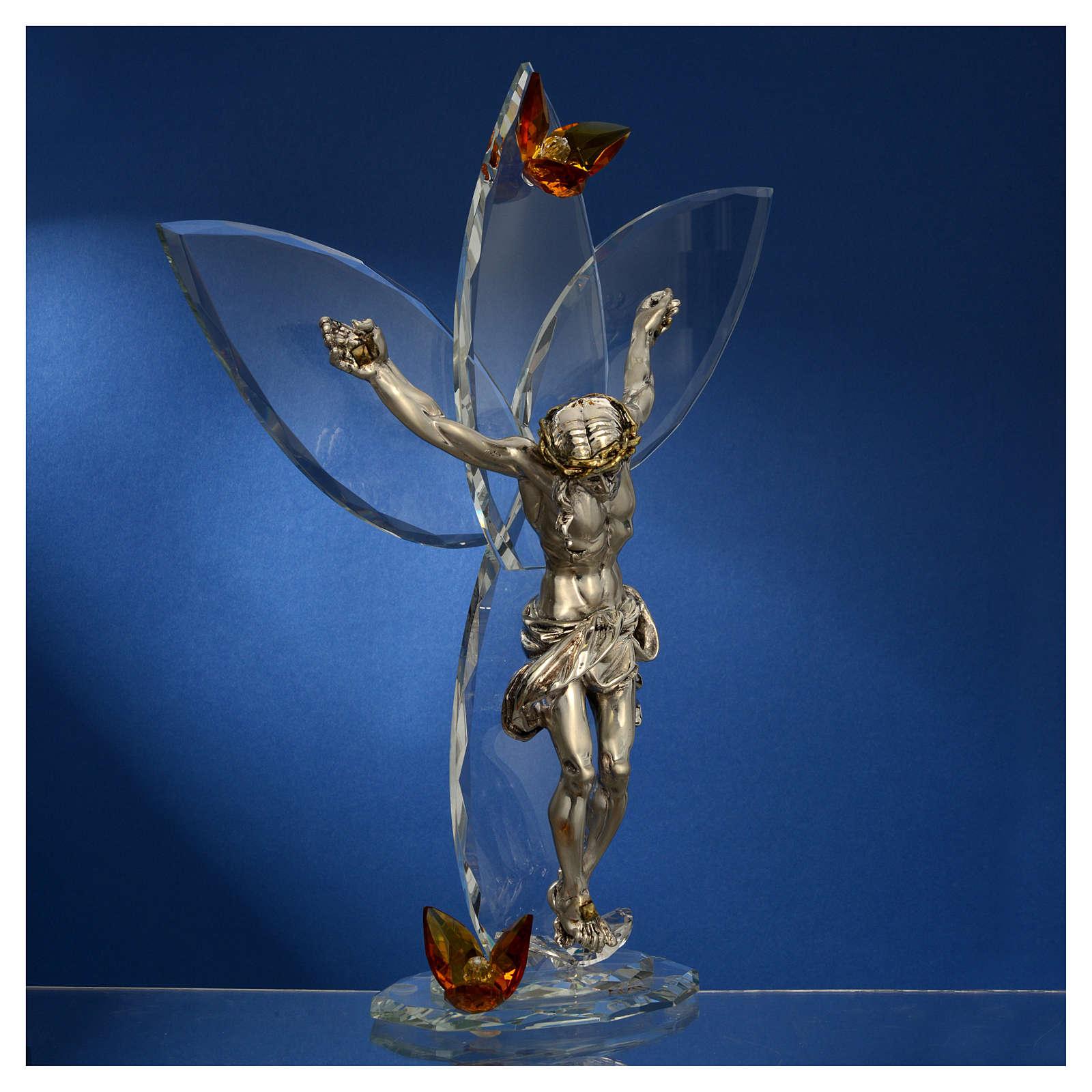 Crucifix avec strass ambre h 32 cm 3