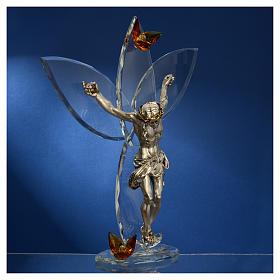 Crucifix avec strass ambre h 32 cm s3