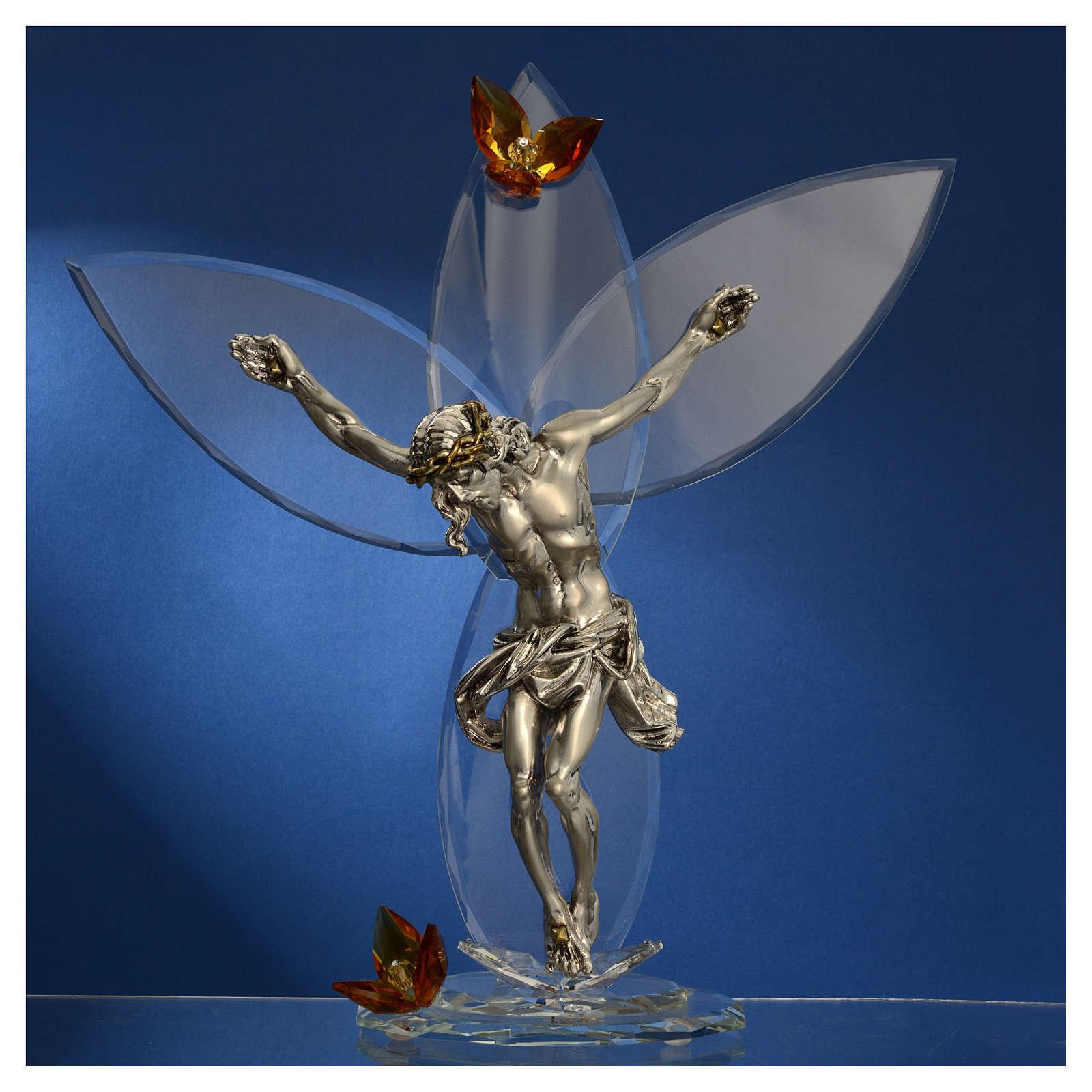 Crocefisso con cristalli Ambra h. 32 cm 3