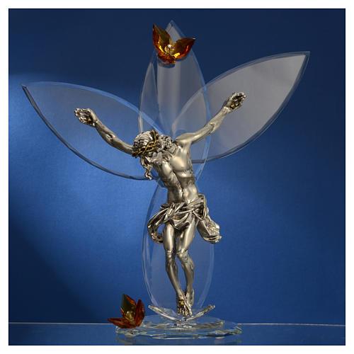 Crocefisso con cristalli Ambra h. 32 cm 2