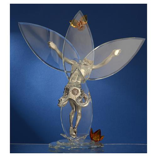 Crocefisso con cristalli Ambra h. 32 cm 4