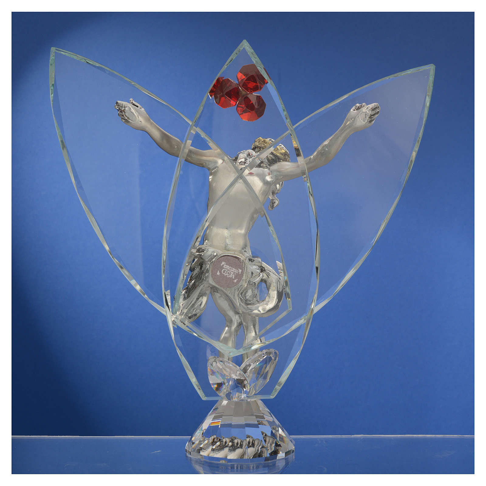 Crucifijo con cristales rojos 21 cm 3
