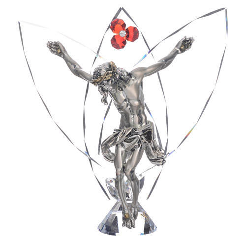 Crucifix avec strass rouge h 21 cm 1