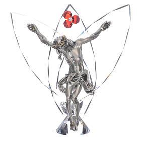 Crocefisso con cristalli Rosso h 21 cm s1