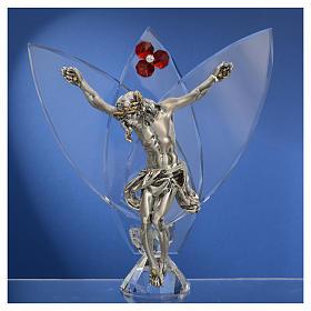 Crocefisso con cristalli Rosso h 21 cm s2