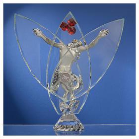 Crocefisso con cristalli Rosso h 21 cm s4