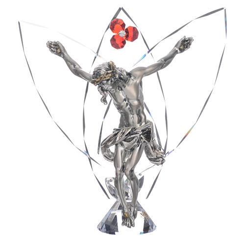 Crocefisso con cristalli Rosso h 21 cm 1
