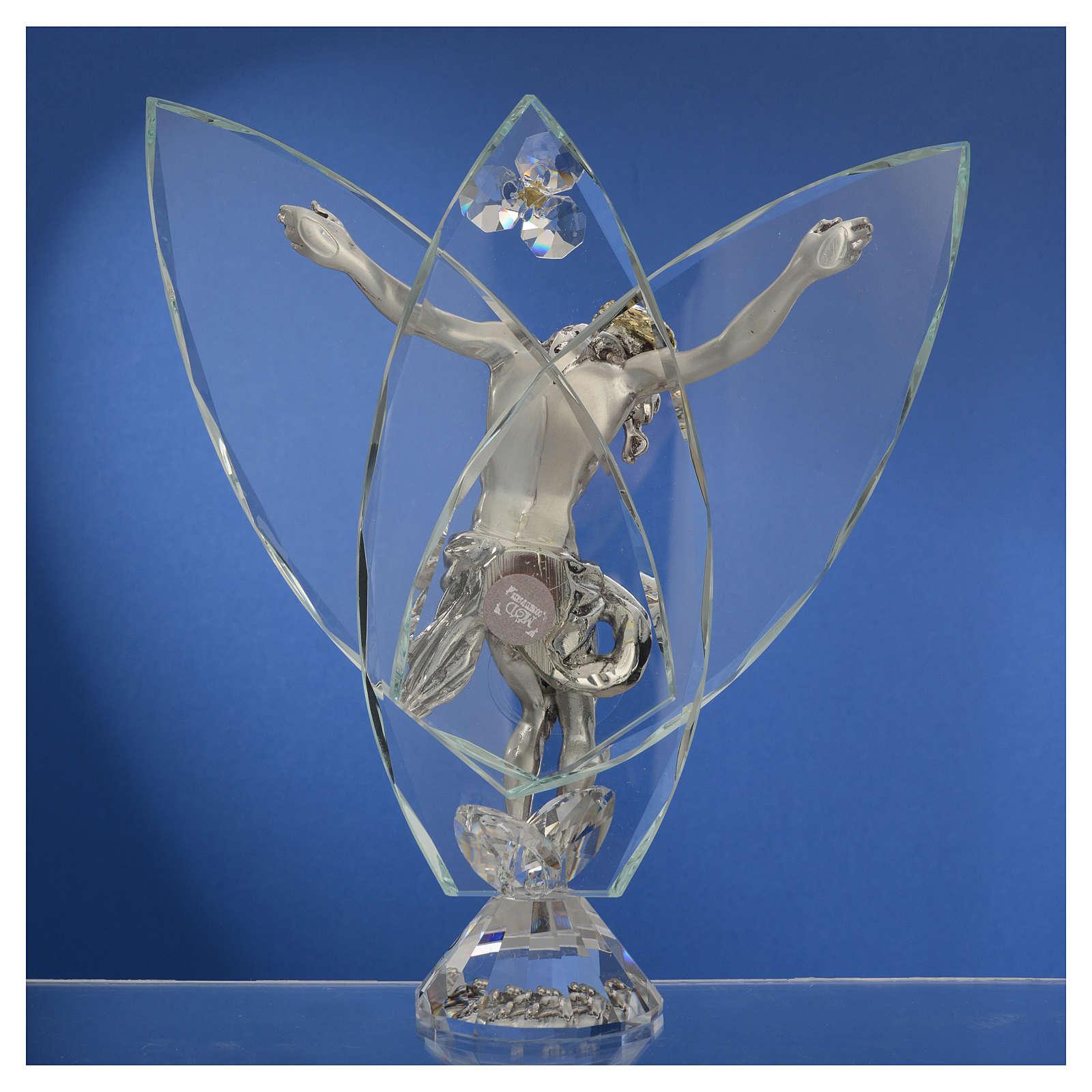 Crucifijo con cristales blancos 21 cm 3