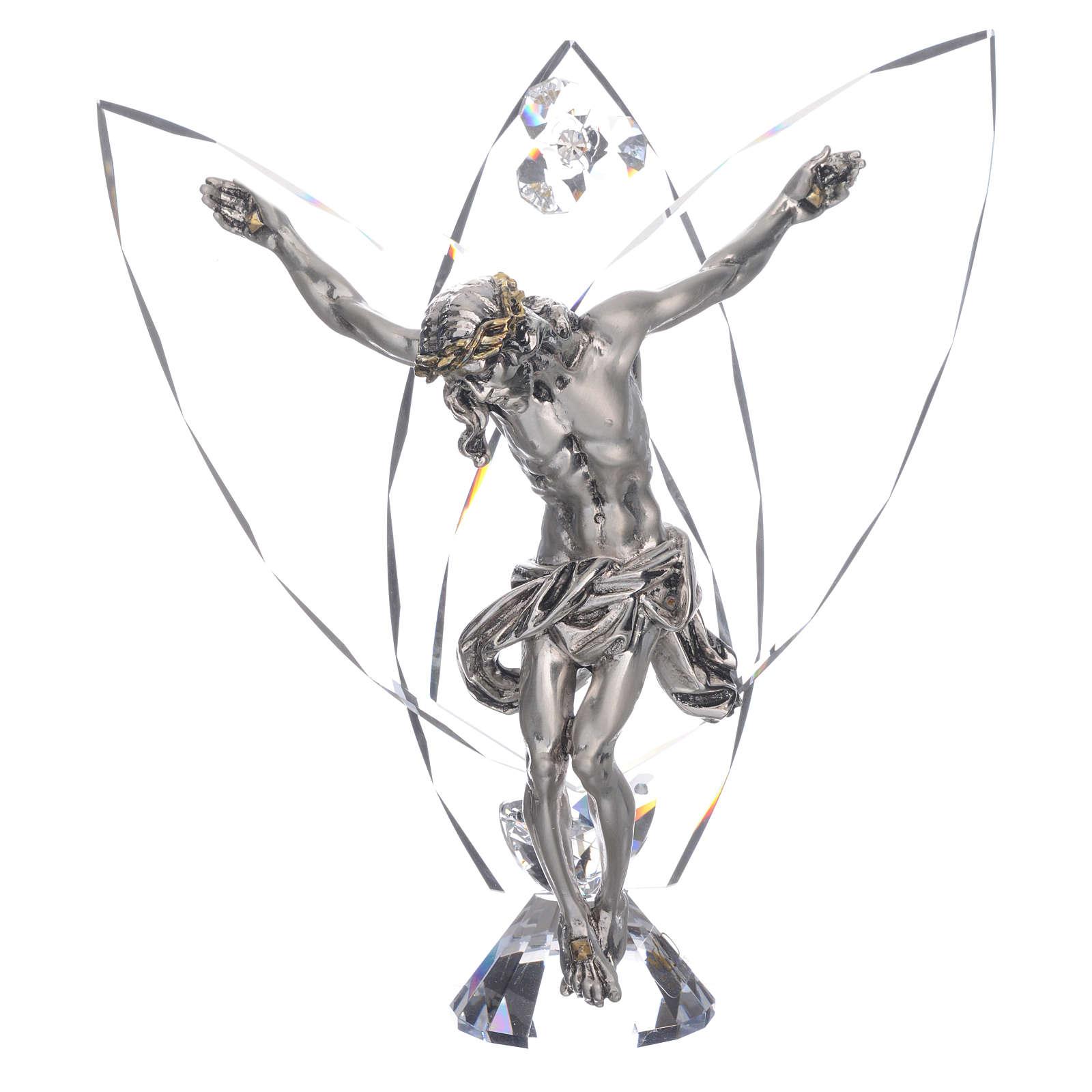 Crocefisso con cristalli bianchi h 21 cm 3