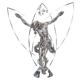 Crocefisso con cristalli bianchi h 21 cm s1