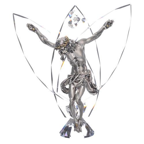 Crocefisso con cristalli bianchi h 21 cm 1