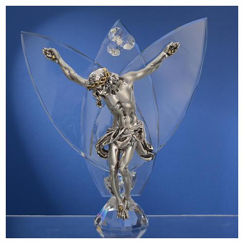 Crocefisso con cristalli bianchi h 21 cm 2