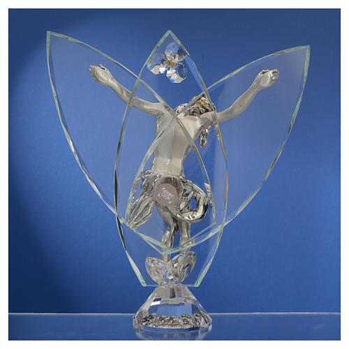 Crocefisso con cristalli bianchi h 21 cm 4