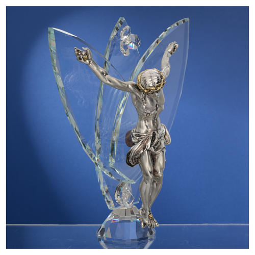 Crucifix with white crystals, 21cm 3