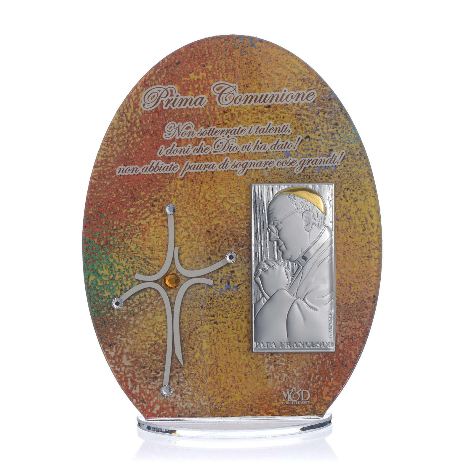 Bomboniera Prima Comunione quadro Papa Francesco 16,5 cm 3