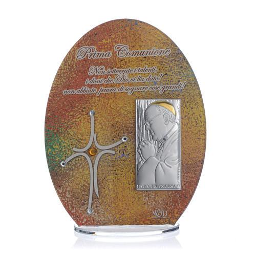 Bomboniera Prima Comunione quadro Papa Francesco 16,5 cm 1
