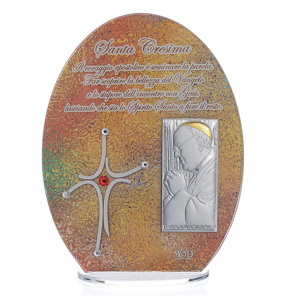 Bomboniera Cresima quadro Papa Francesco 16,5 cm 3