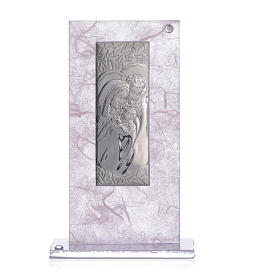 Wedding Favour with Holy Family image in silver pink and lilac s3