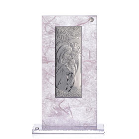 Wedding Favour with Holy Family image in silver pink and lilac s1