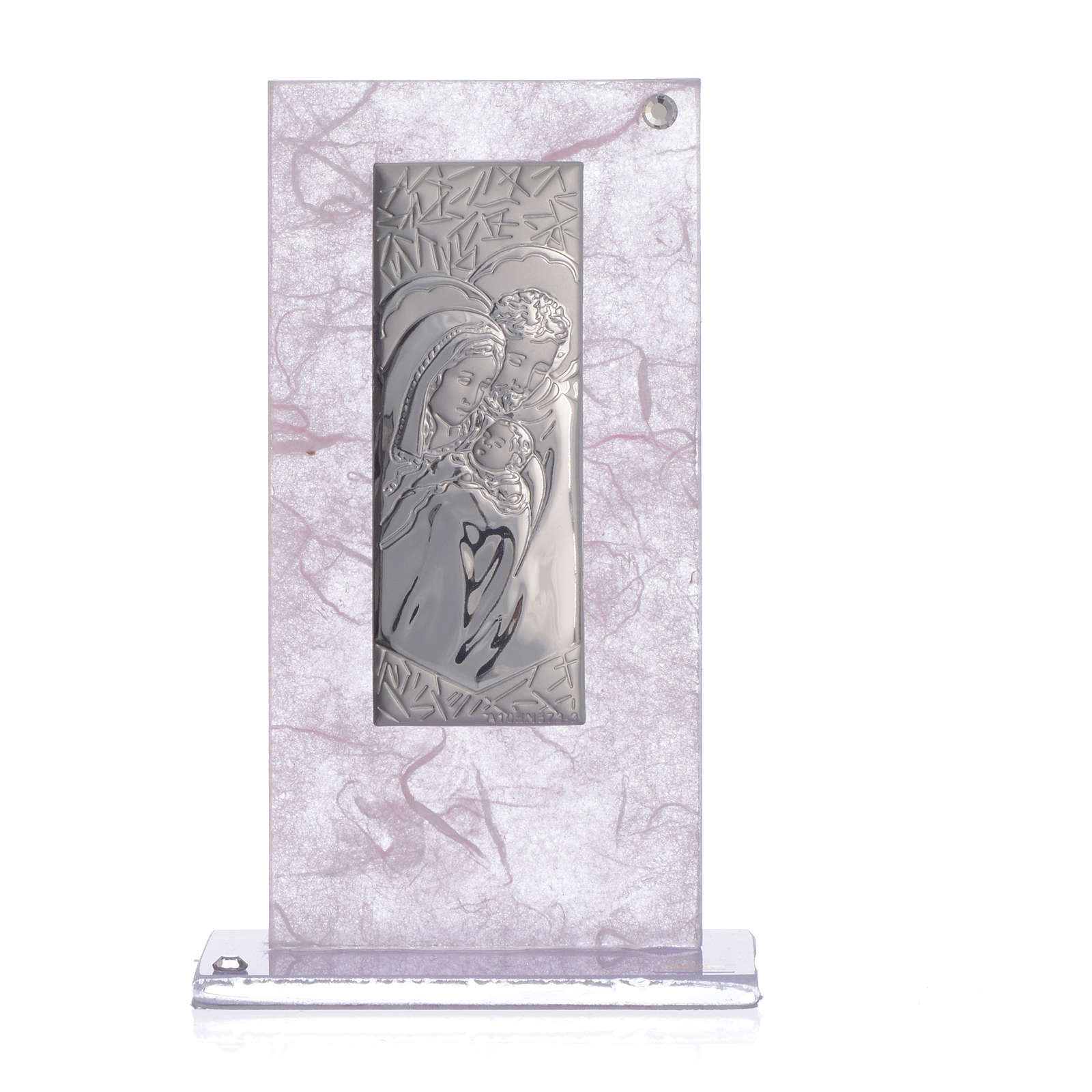 Wedding Favour with Holy Family image in silver pink and lilac 3