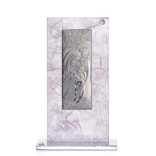 Wedding Favour with Holy Family image in silver pink and lilac 1