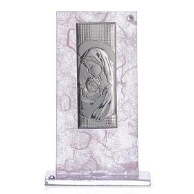 Bonbonnière Naissance image Maternité argent rose-lilas s1