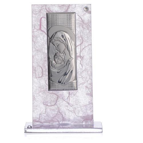 Bonbonnière Naissance image Maternité argent rose-lilas 3