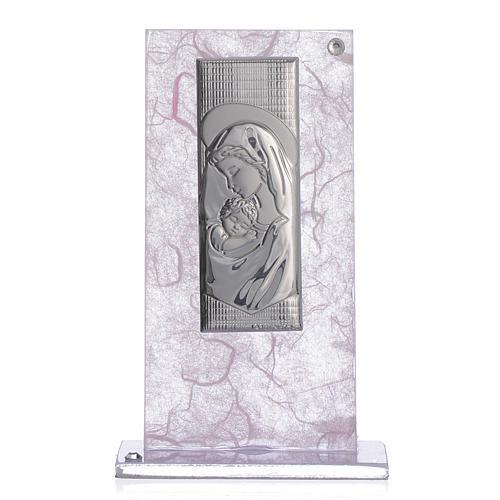 Bonbonnière Naissance image Maternité argent rose-lilas 1
