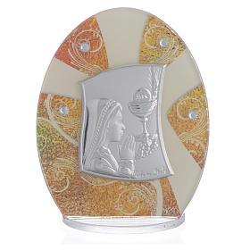 Geschenkidee Kommunion Mädchen Silber Platte 10.5cm s1