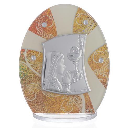 Geschenkidee Kommunion Mädchen Silber Platte 10.5cm 1