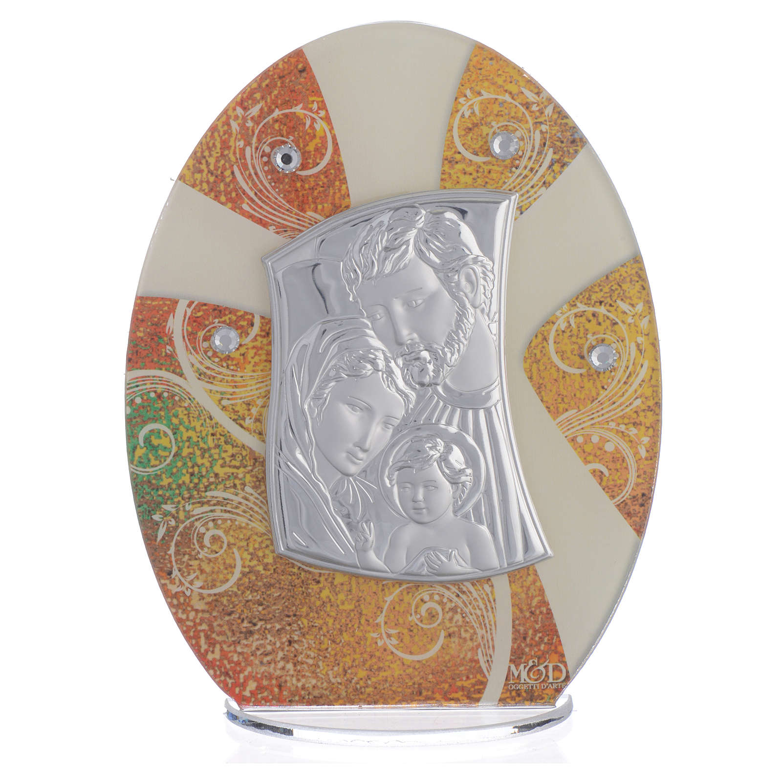 Favour with Holy Family image in silver foil 16.5cm 3