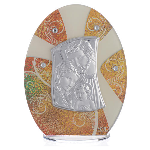 Favour with Holy Family image in silver foil 16.5cm 1