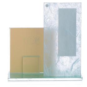 Bomboniera Portafoto S. Famiglia vetro celeste -verde s2