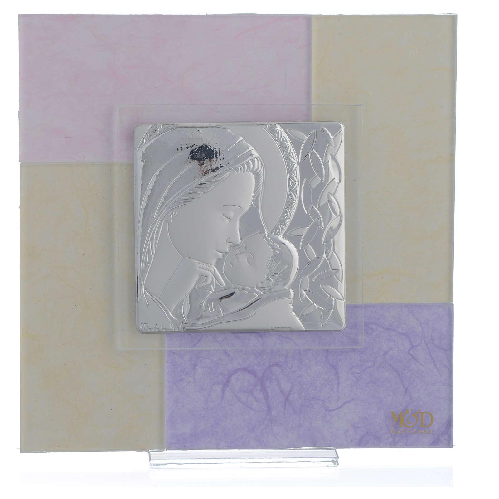 Quadro Nascita rosa - lilla 17x17 cm 3