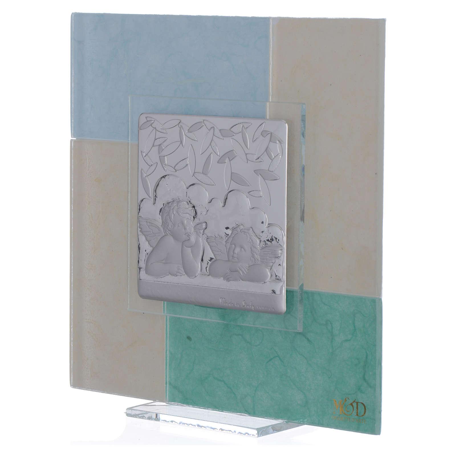 Cadre Baptême bleu-vert 17x17 cm 3