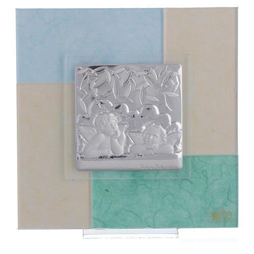 Cadre Baptême bleu-vert 17x17 cm 1