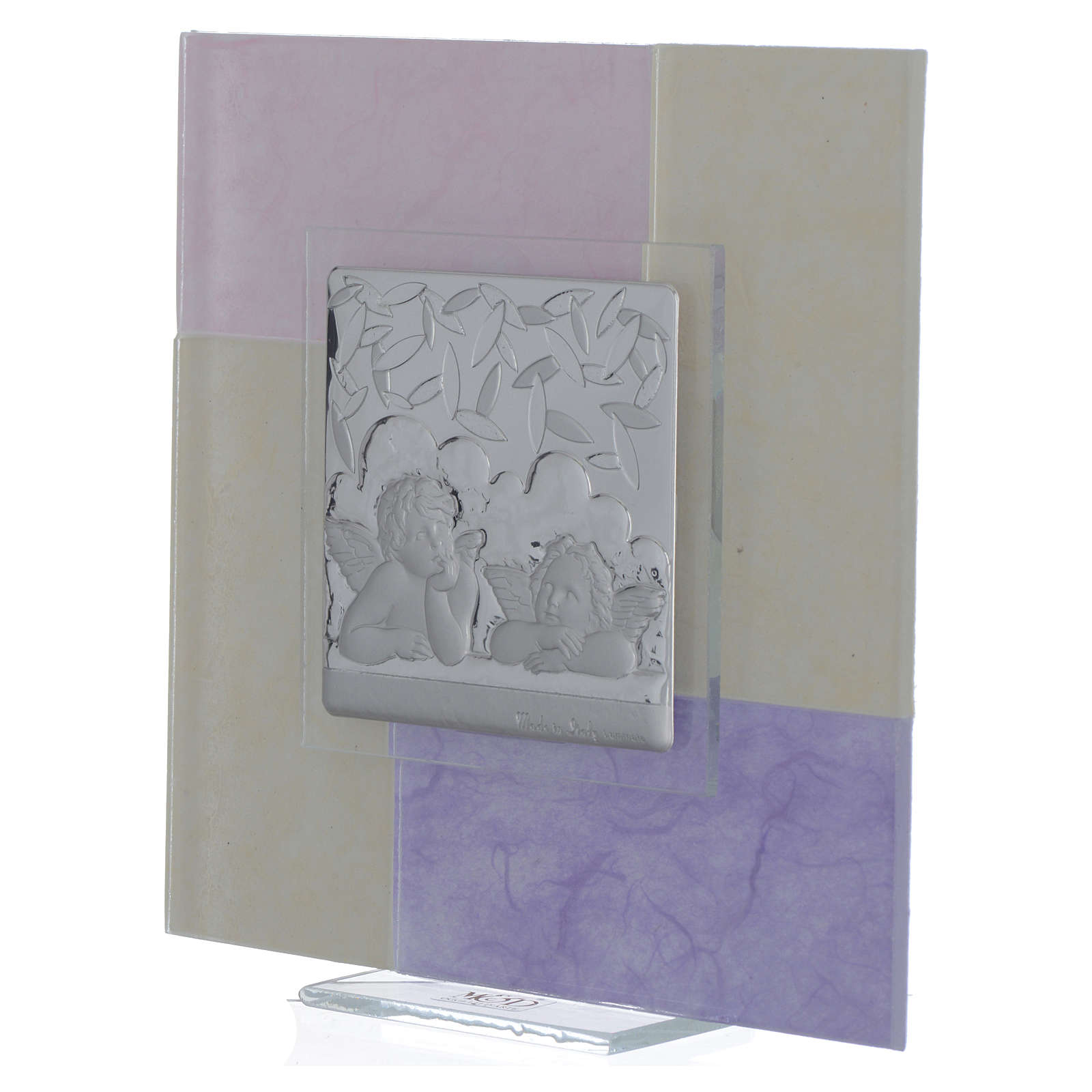 Quadro Battesimo rosa - lilla 17x17 cm 3