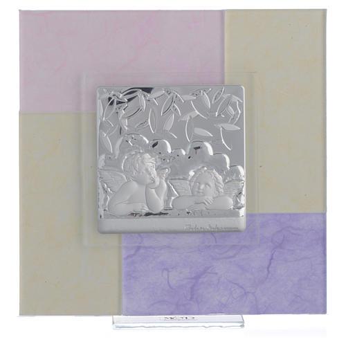 Quadro Battesimo rosa - lilla 17x17 cm 1