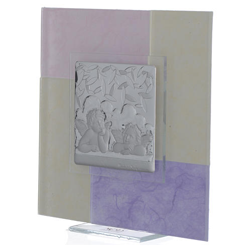 Quadro Battesimo rosa - lilla 17x17 cm 2